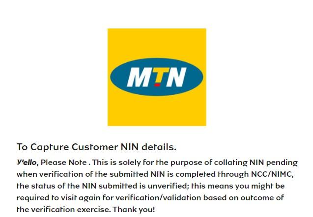 MTN Portal For NIN Linkage With Sim Card