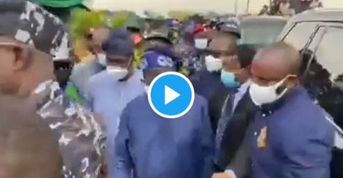 Tinubu's Legendary Arrival At Agege Pen Cinema Flyover Inauguration