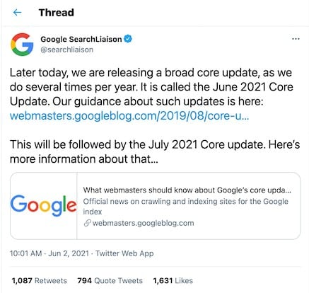 June Google Core Update
